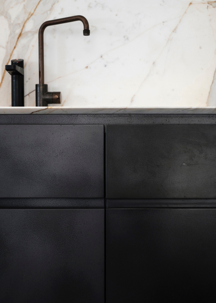 Kitchen Cabinets in Slate Smooth | Photo by Felix Forest