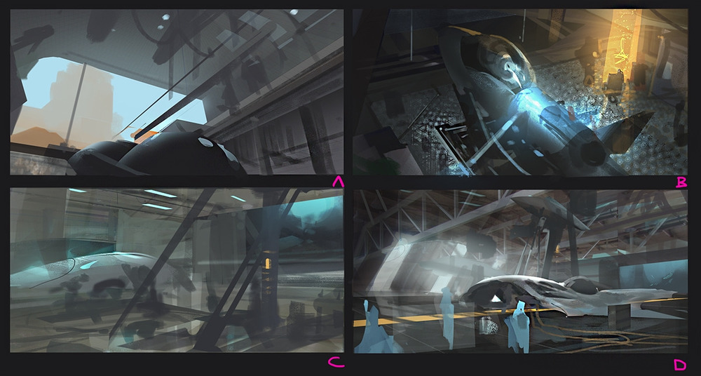 Thumbnails exploring different compositions and lighting scenarios.