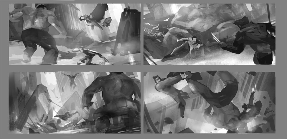 Greyscale thumbnails to explore the action and general composition and lighting of the image.