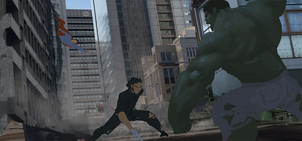 "I ended up preferring the composition flipped. I started adding a bit of atmosphere and a bit more definition to ""The Hulk""."