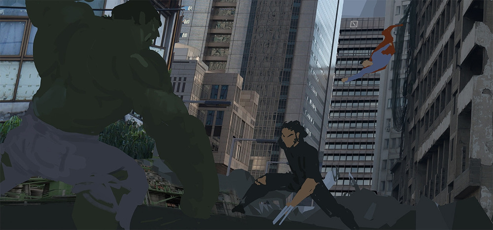 Imported photographic elements for the buildings and started doing a rough blockout of the three main characters.