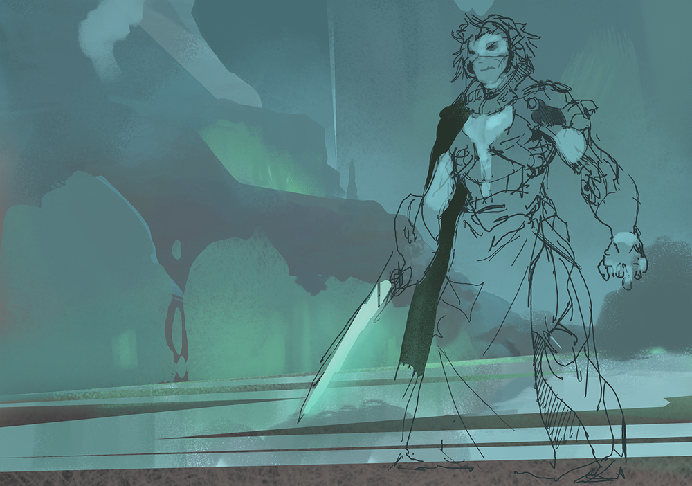 Original 30 minute sketch.  Starting with thumbnails would have worked best here, but this was initially just a speedpainting.