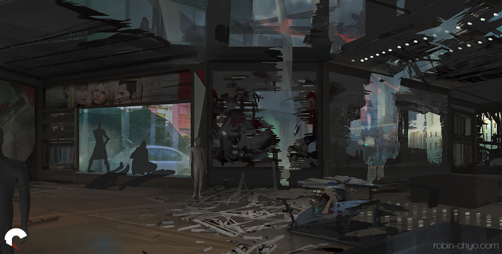 Initial composition blockout with some texturing.
