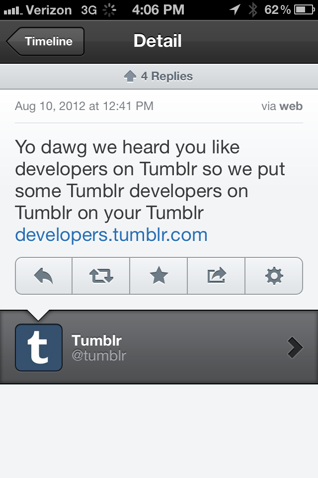 Tumblr's twitter account does a great job of keeping the tone fun, friendly, and informal. It really shows that they're people too… who also like memes.