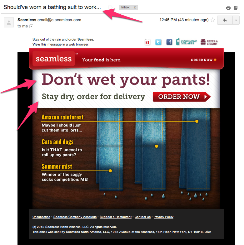 Sometimes creative copy can hurt, like this example from Seamless. While I admire their attempt, it comes off as mildly insulting and not funny. And it doesn't help that it hardly ever rains in SF in the summer. Creative copy still requires you to respect and understand your users.