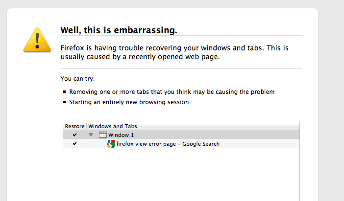Firefox error page has a nice, humanizing message.