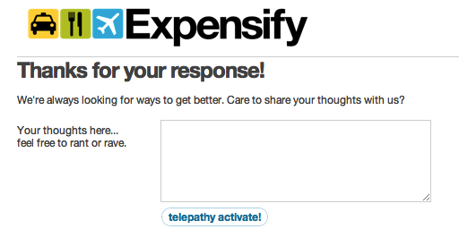 Landing page for a survey email that Expensify sent out.
