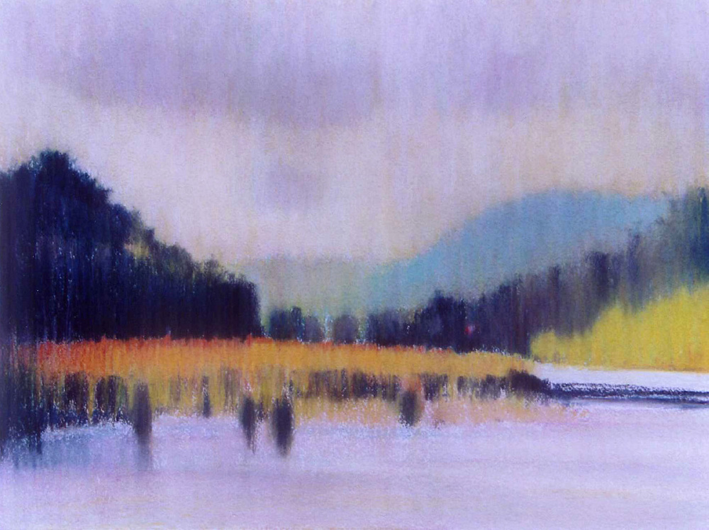 """West Branch Delaware River, Deposit NY , William Chickillo, 171/2"""" x 221/2"""" pastel"""