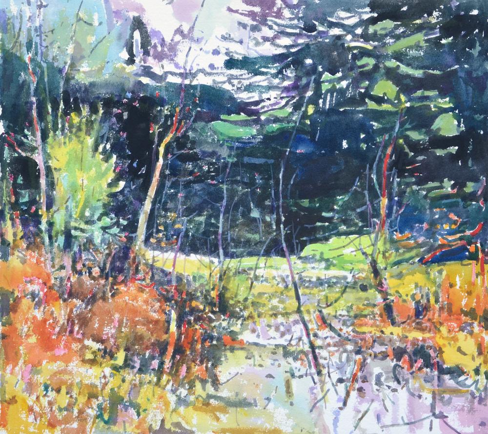 "Lily Pad Bog, William Chickillo, 22"" x 241/2"" watercolor"