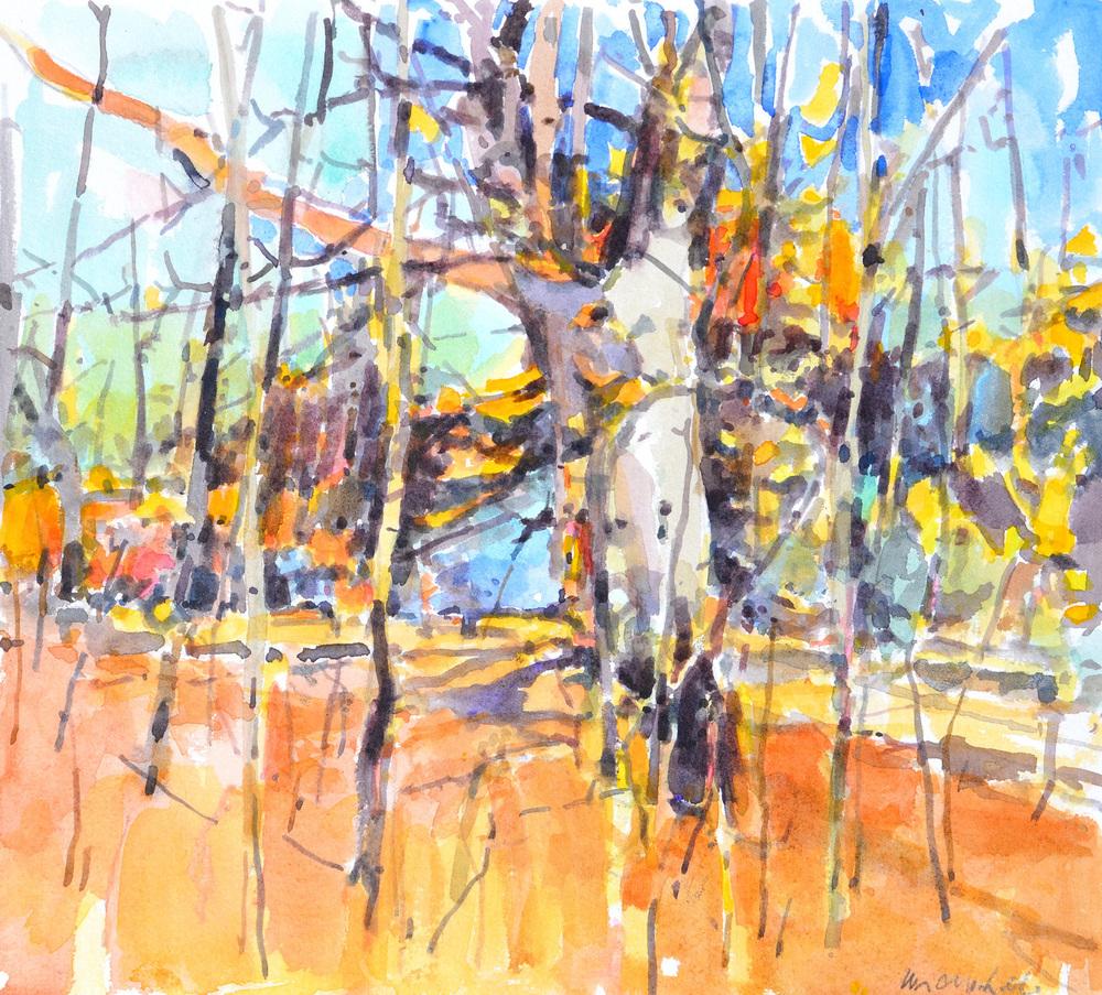 """Late Beech, William Chickillo, 8"""" x 10"""" watercolor"""