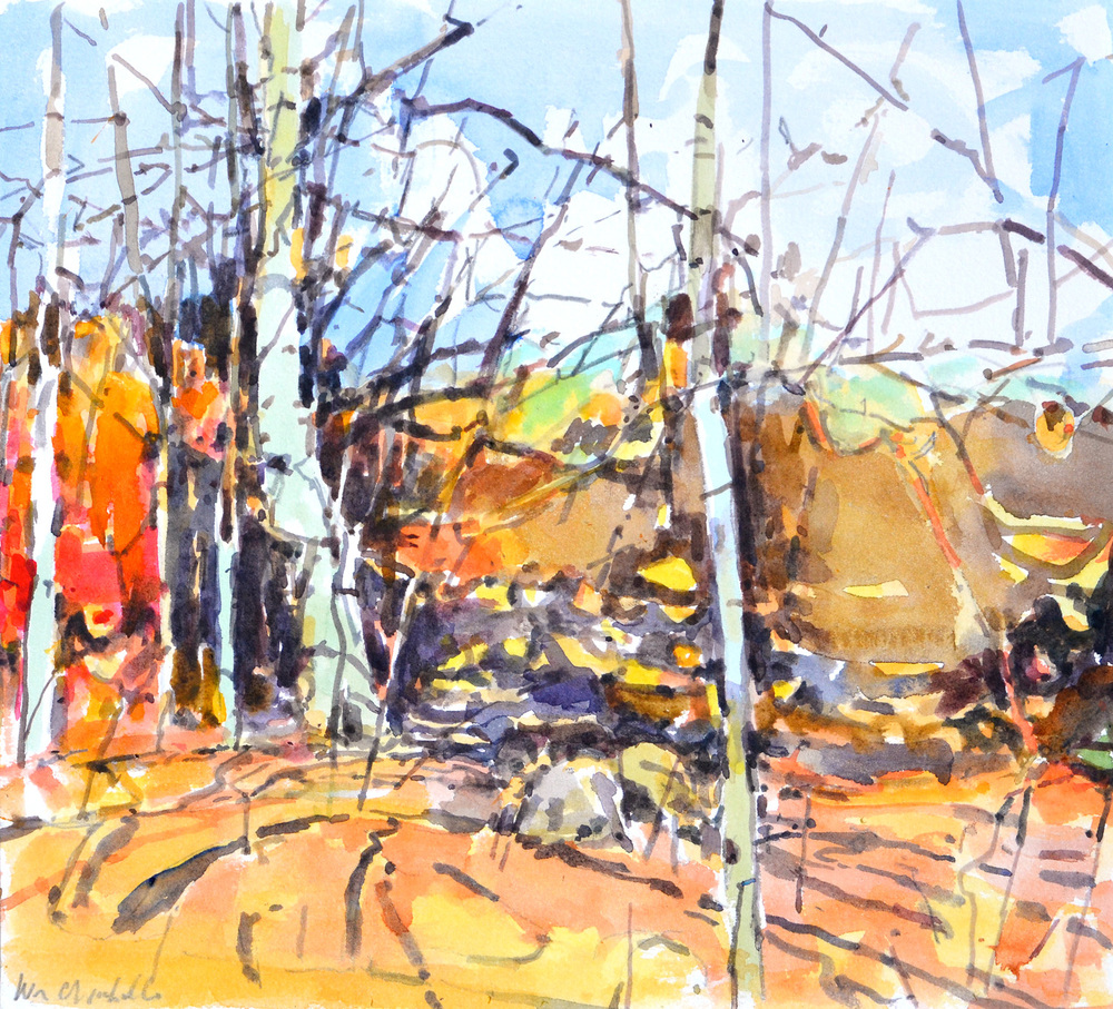 "Late Beech II, William Chickillo, 8"" x 10"" watercolor"