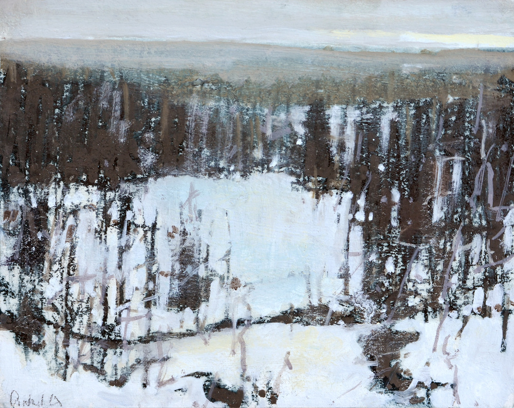 "Long Winter View, William Chickillo, 8"" x 10"" oil on board"