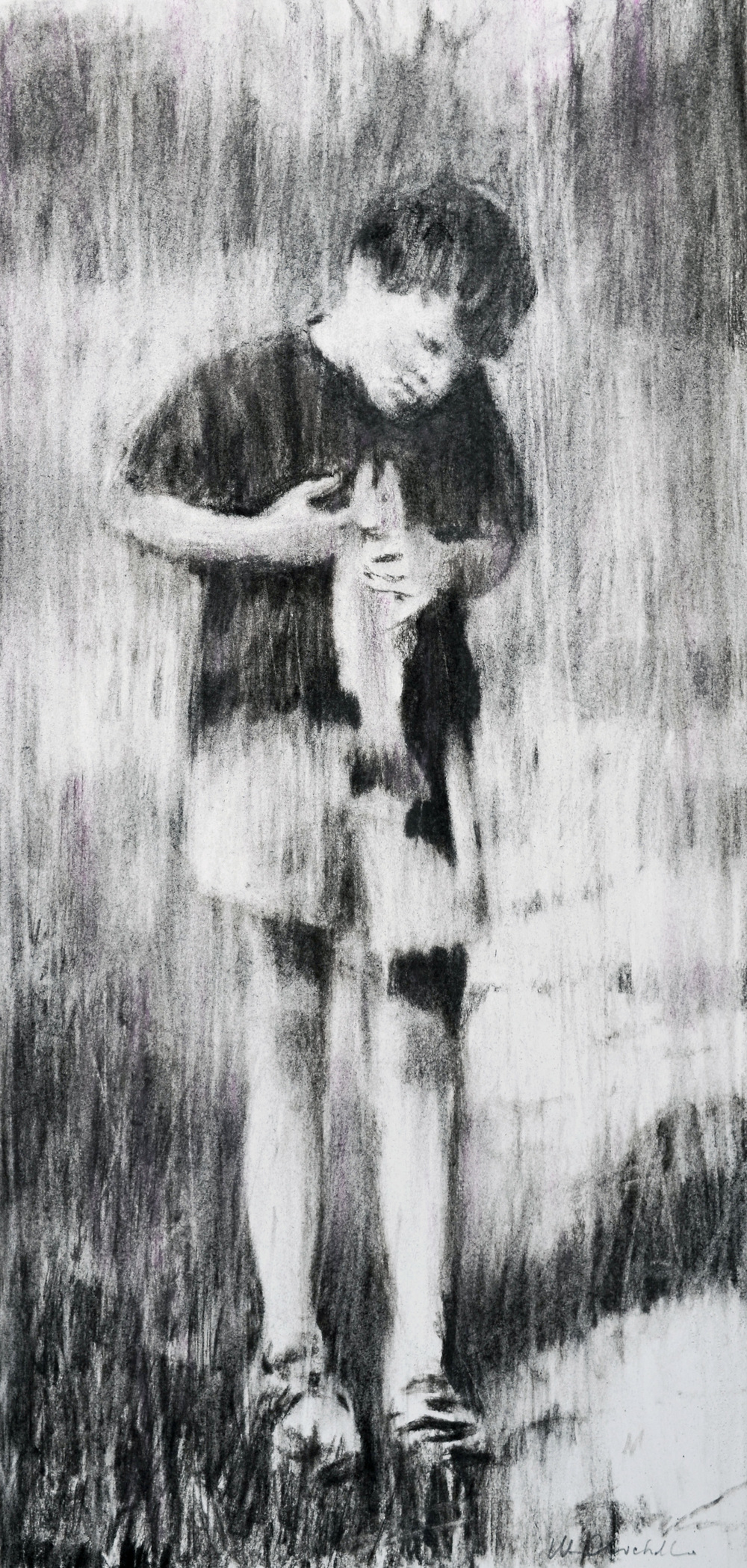 "Boy with Trout, William Chickillo, 11"" x 22 1/2"" charcoal drawing"