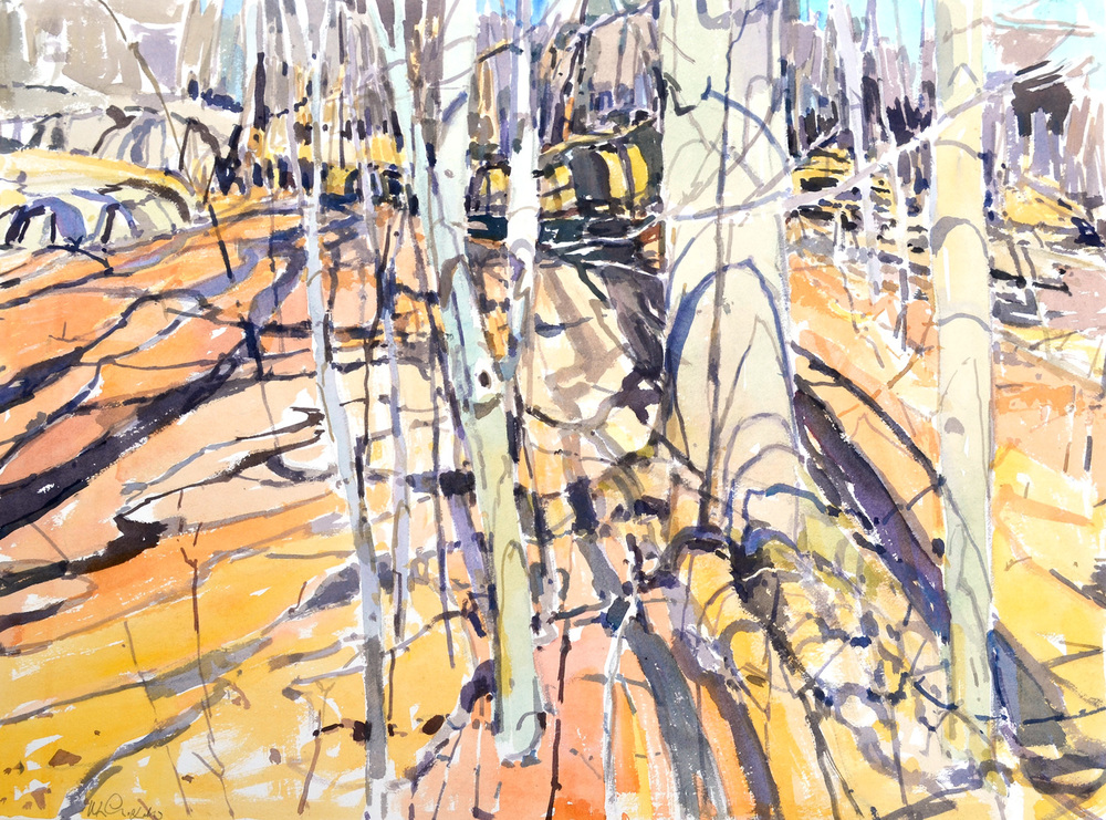 "Beech Saplings, William Chickillo, 22"" x 29"" watercolor"