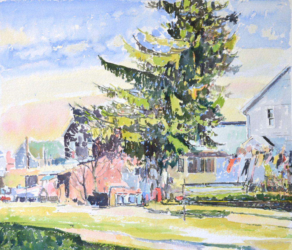 "Backyard Laundry, William Chickillo, 17 1/2"" x 20"" watercolor"