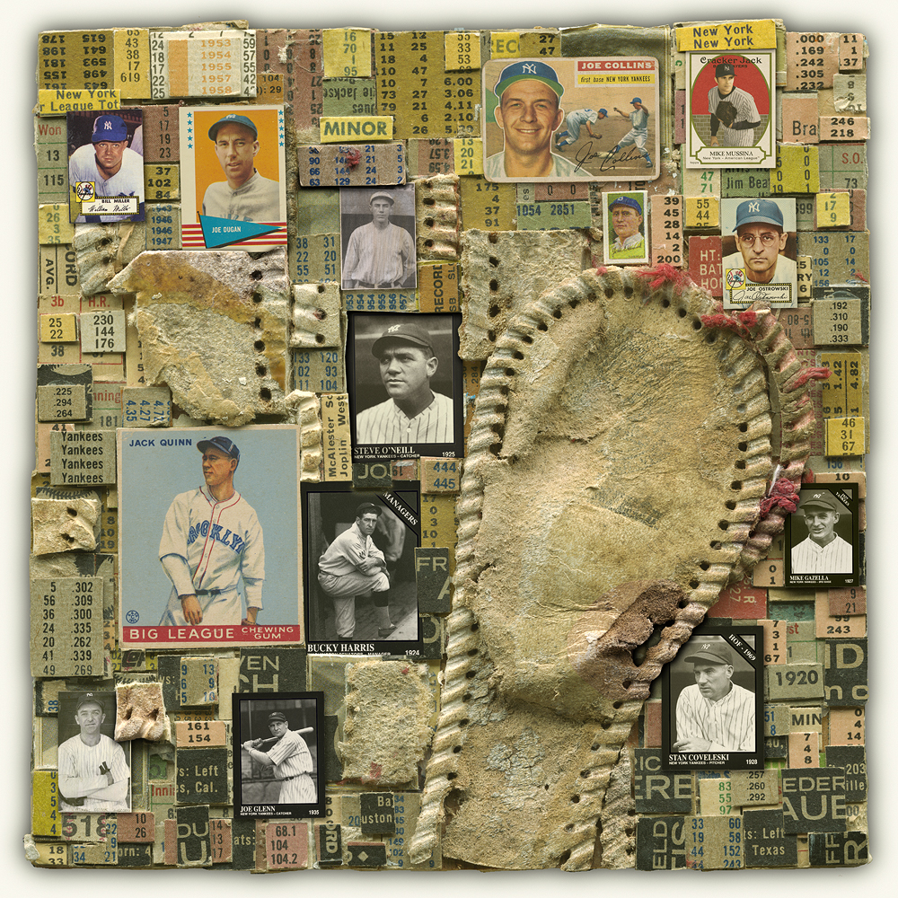This is a Yankees collage which will be exhibited at the upcoming Everhart Museum's Baseball Dreams exhibition.  The exhibition will be at the museum from April 8 through the World Series.  I am very excited to be able to share my love of baseball, and the story of these collages.  I will also be selling work from this collection on this site in days to come, so stay tuned!