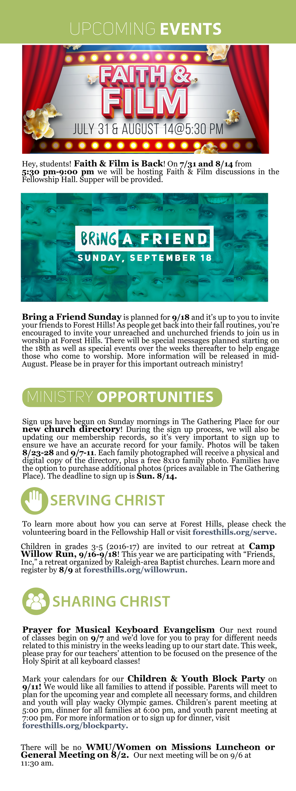 weekly update 7 31 forest hills baptist church raleigh