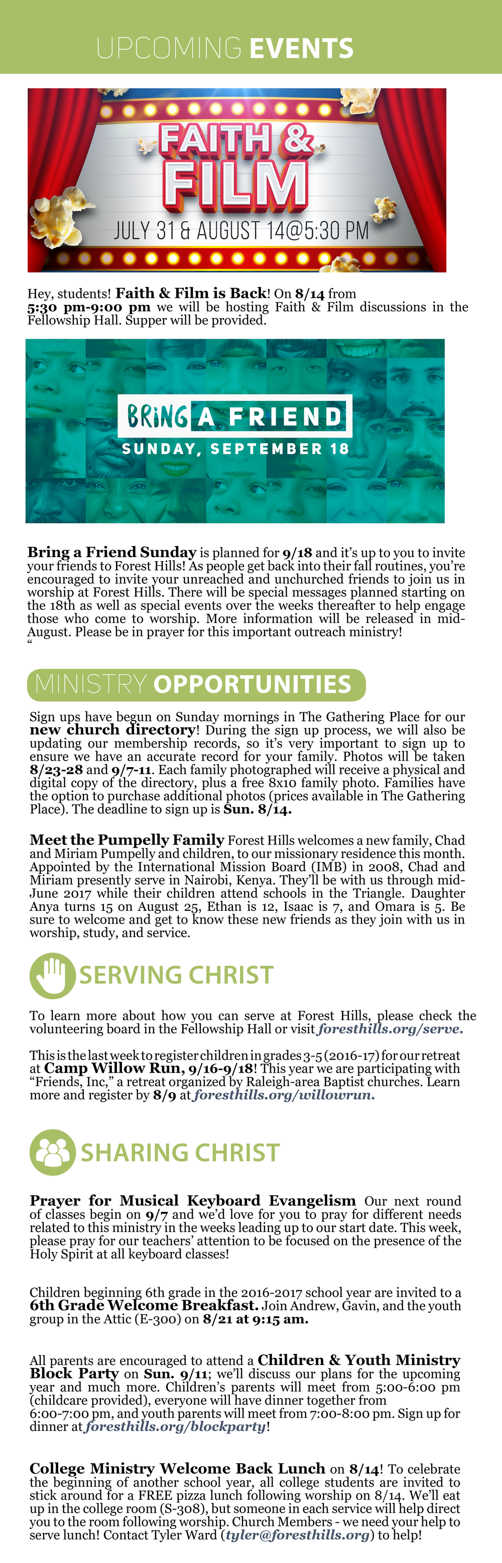 forest hills baptist church in raleigh nc weekly update