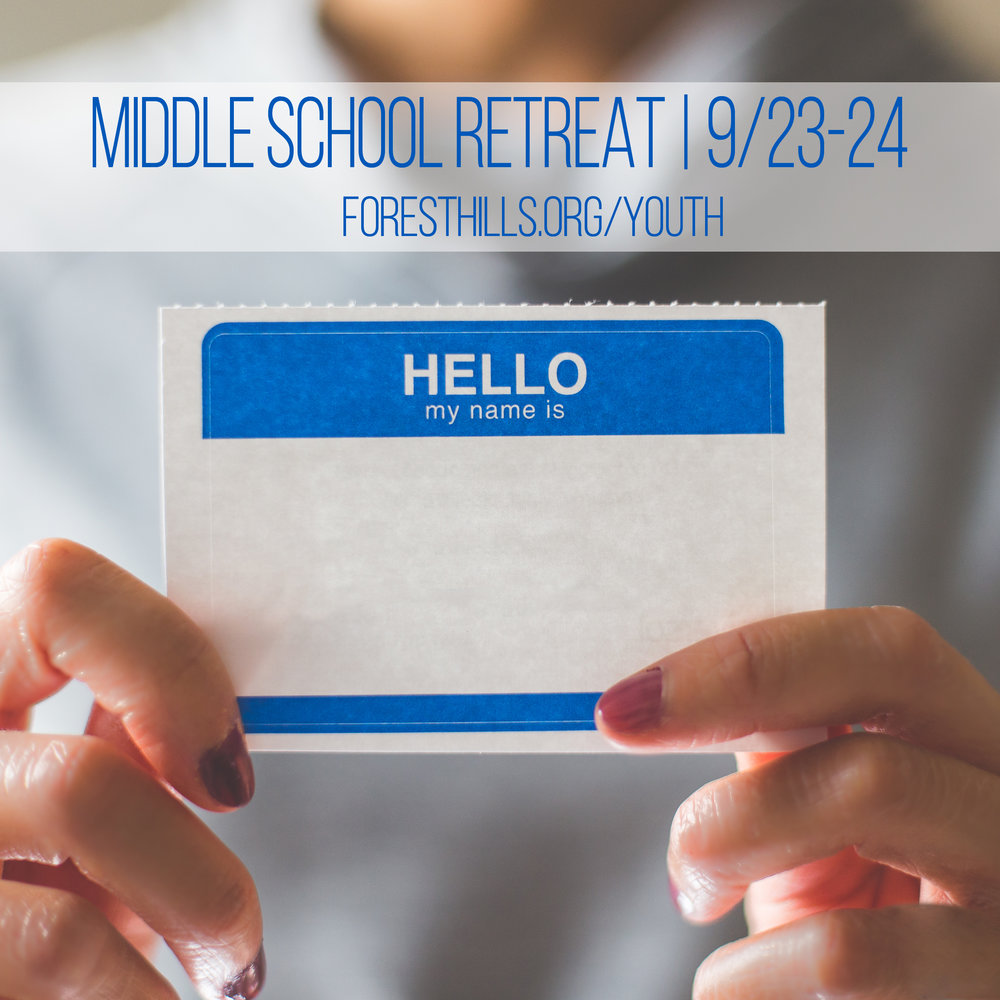 On 9/23-24, we will be hosting an in-town retreat with our Middle Schoolers. We will be staying at local host homes and participating in Forest Hills' Serve Blitz Day. Join us for a great weekend of fun and spiritual formation!