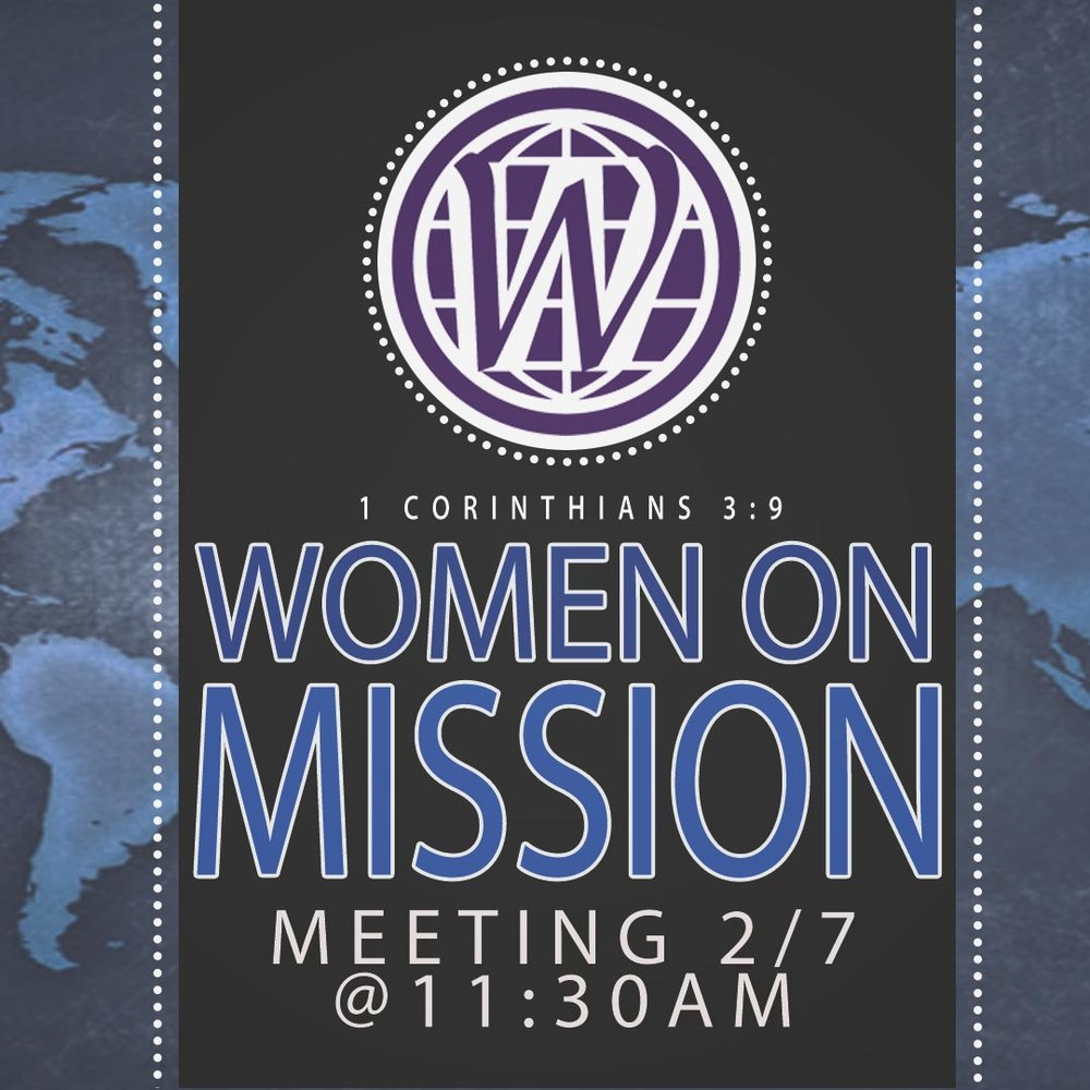 Everyone is invited to hear Amy Boone, Executive Director/Treasurer, WMU of NC who will talk about mission ministries in NC at 11:30 am on 2/7 in the Fellowship Hall.