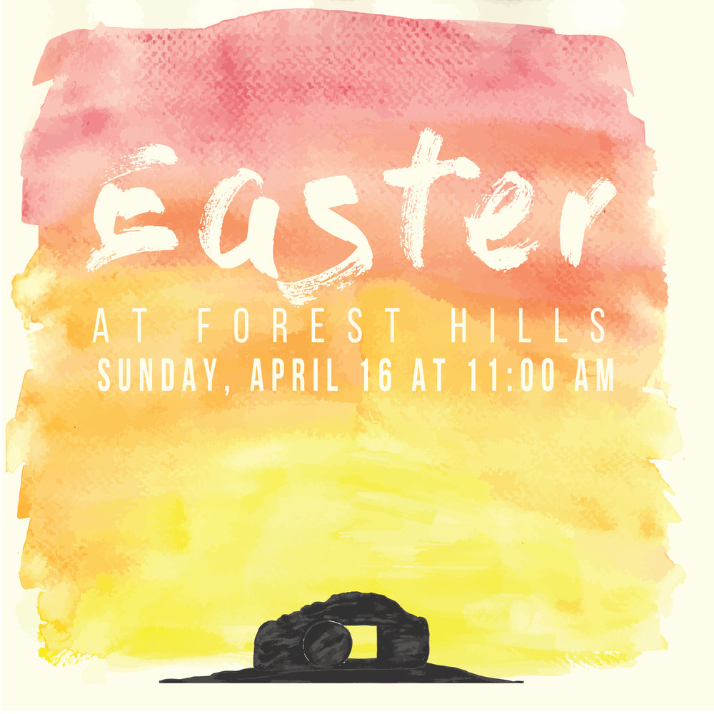 Come join us on Easter Sunday, April 16th as we celebrate the resurrection. We will be celebrating in both of our 11:00 am worship services. This is a great opportunity to invite friends or family who don't normally attend church; if you have someone in mind, grab an invite card from The Gathering Place.