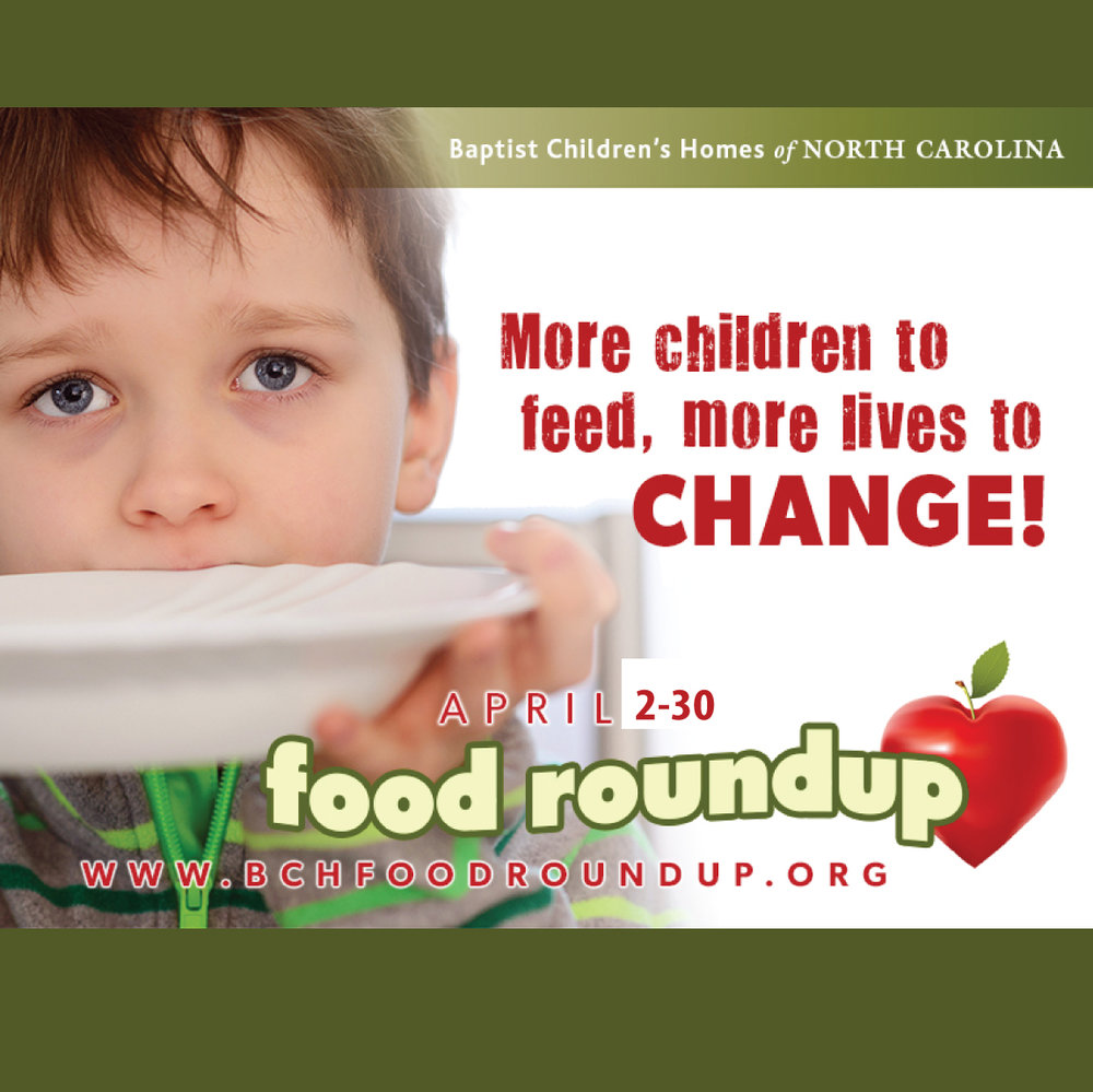 Women on Mission invites you to donate food and paper products to the 2017 Food Roundup during the month of April for the Baptist Children's Homes. Please bring food and paper items to the Gathering Place boxes by the library between 4/2-4/30. Lists of items needed are also in The Gathering Place.