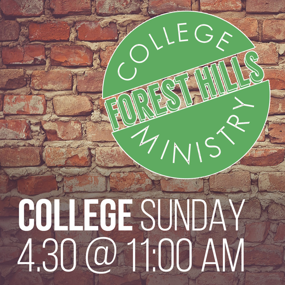 College Sunday will be celebrated in our contemporary worship service next Sunday, April 30th. All College students are invited to join us in worship and to stick around for a free luncheon in the college room (S-308) following the service.