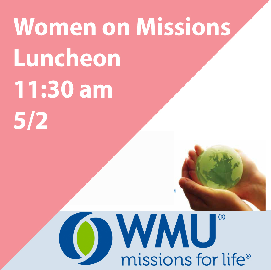 Everyone is invited to hear Mary McLaurin and Carol Polischak speak about Crosswave - Peru for the Women on Missions Luncheon on 5/2 at 11:30 am in the Fellowship Hall. This missions organization shares the love of Jesus with our South American neighbors.