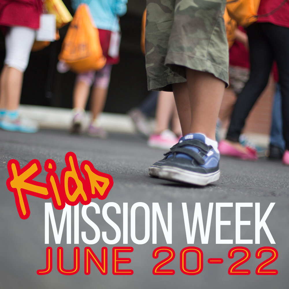 Kids Mission Week- Rising 3rd-6th graders are invited to Kids Mission Week, 6/20-22, 10:00 am-2:00 pm. Each day we'll have Bible studies, projects at the church, and activities off-site that connect our kids to God's work in the world. Only 10 places are available; register at the link below.