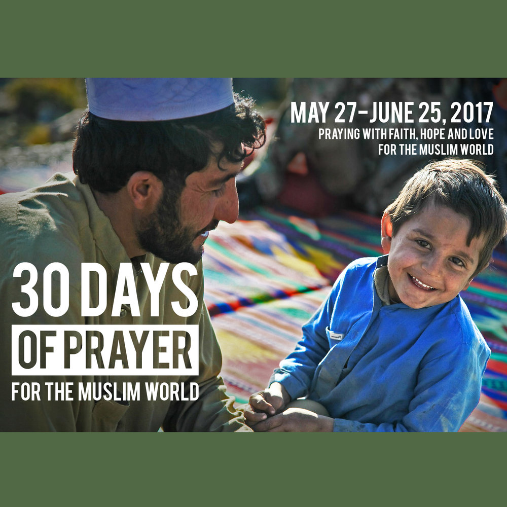 The 30 Days of Prayer for the Muslim World is a prayer focus which coincides yearly with Ramadan, an important month of fasting and religious observance for Muslims. Christians worldwide are called upon to make an intentional but respectful effort during that period to learn about, pray for and reach out to Muslim neighbors. Ramadan is 5/27 - 6/25, this year. See Jason for a Prayer Guide (we have paperback or PDF versions). Follow along online, daily on the top of this webpage, starting 5/27 at  30daysprayer.com