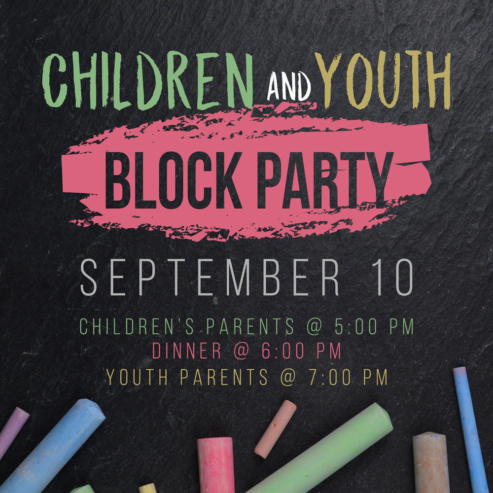 All parents are encouraged to attend a Children & Youth Ministry Block Party on Sun, 9/10; We'll discuss our plans for the upcoming year, share our ministry vision, pray over our children and youth, and much more. Forest Hills is providing the meat for this event, but we need a help providing the rest of the meal. To register for a dish,  click here.
