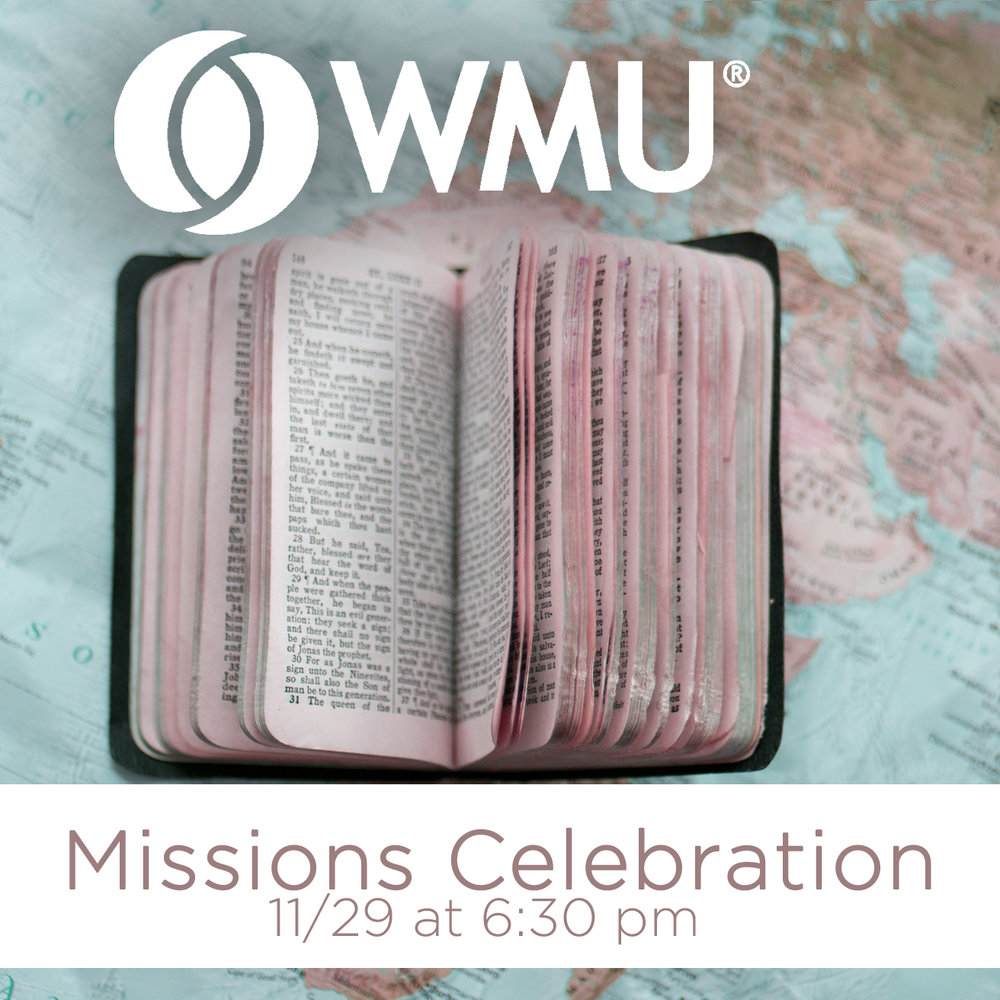 Women on Mission invite you to join us for our annual Missions Banquet in the Fellowship Hall from 6:30 pm-7:30 pm on Wed, 11/29. This year's program will highlight the ministries of our partner congregations and how each is reaching people for Christ right here in our own backyard. Join us as we learn about their ministries and celebrate all that God is doing through them!