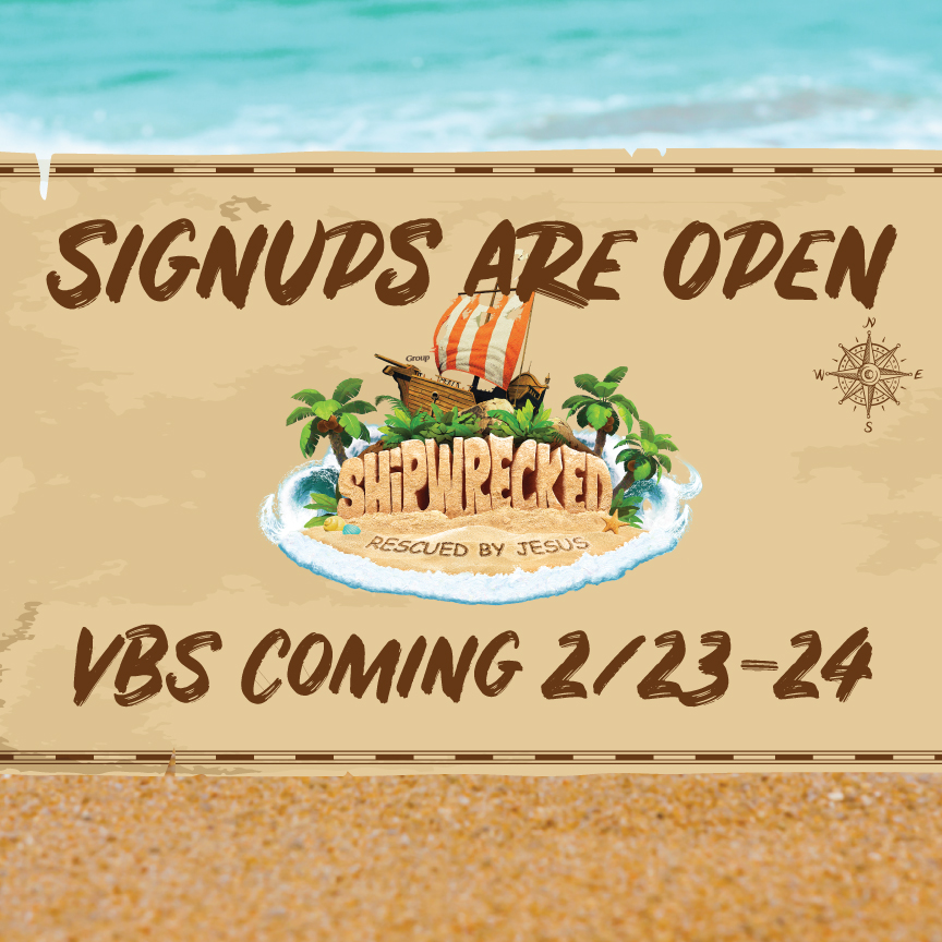 Signups are open for Shipwrecked VBS! All children potty-trained to 5th grade are invited to join us for Bible stories, games, and activities on a deserted island. At Shipwrecked, we'll learn that Jesus rescues us from life's storms. Get more information and register by 2/18/17 at  foresthills.org/churchlife.  To volunteer to help, email  andrew@foresthills.org .
