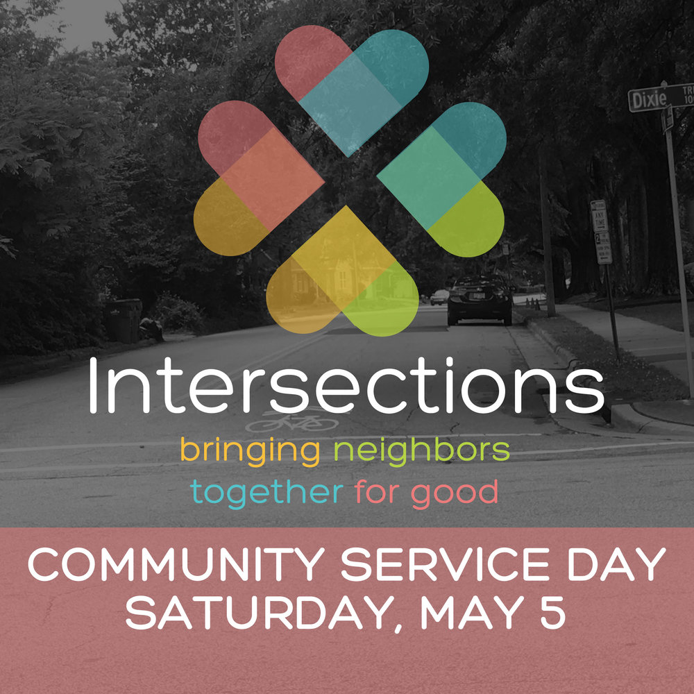 Our next Intersections Community Service Day will be held on Sat, 5/5 here at Forest Hills. We'll have opportunities available to give blood, pack lunches for the Raleigh Rescue Mission, do some spring cleaning around the church, and more! For more information, and to register to help, please visit  foresthills.org/churchlife.