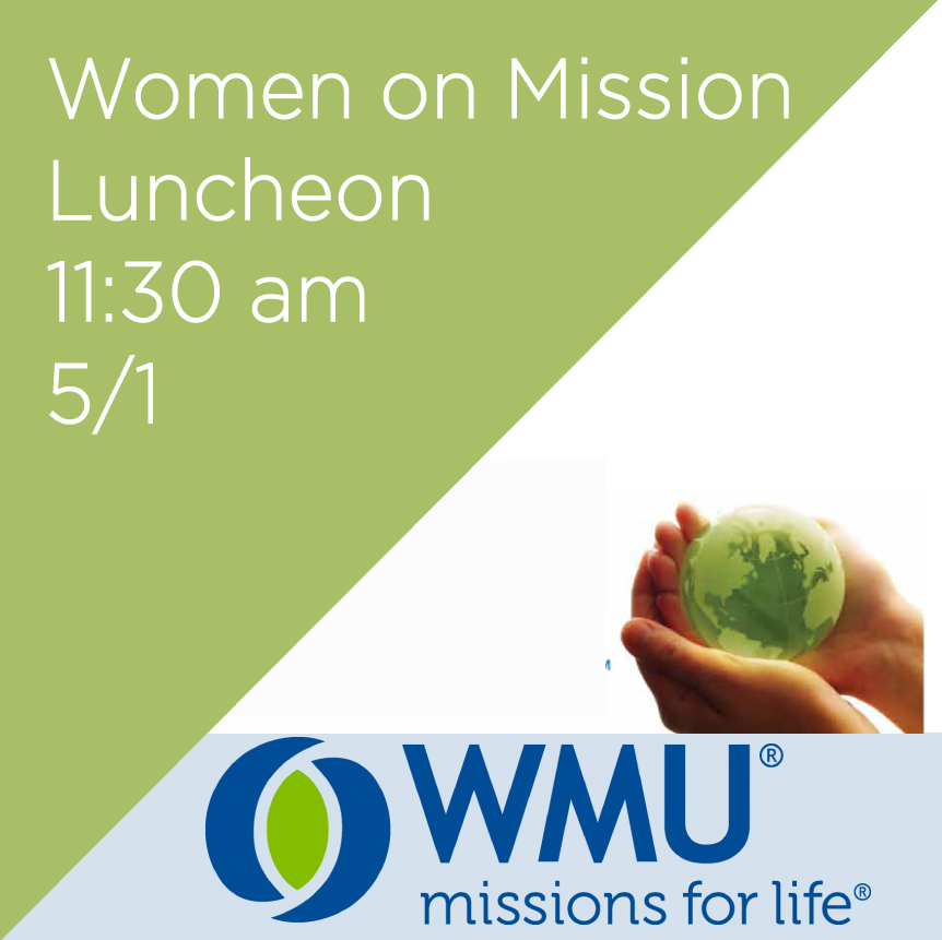 On Tues, 5/1 all men and women are invited to join Women on Mission for lunch at 11:30 am in the Fellowship Hall and to hear guest speaker: Jay Baugham, the assistant director at Red Springs Mission Camp. He will talk about the on going relief effort for eastern North Carolina for Hurricane Matthew and other efforts that mission groups can help with.