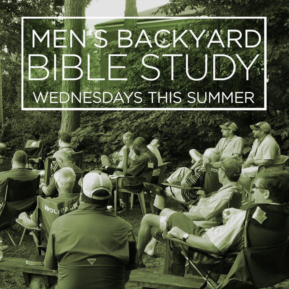 The Men's Summer Bible Study is Back! Join us in the backyard of the missionary house from 7-8 pm on Wednesdays from June 6-Aug 15 (no meeting July 4). Each week, we'll get practical wisdom from James or 1 Peter. Bring your Bible, a lawn chair, and a friend! In case of rain, we will meet in the Youth Attic.