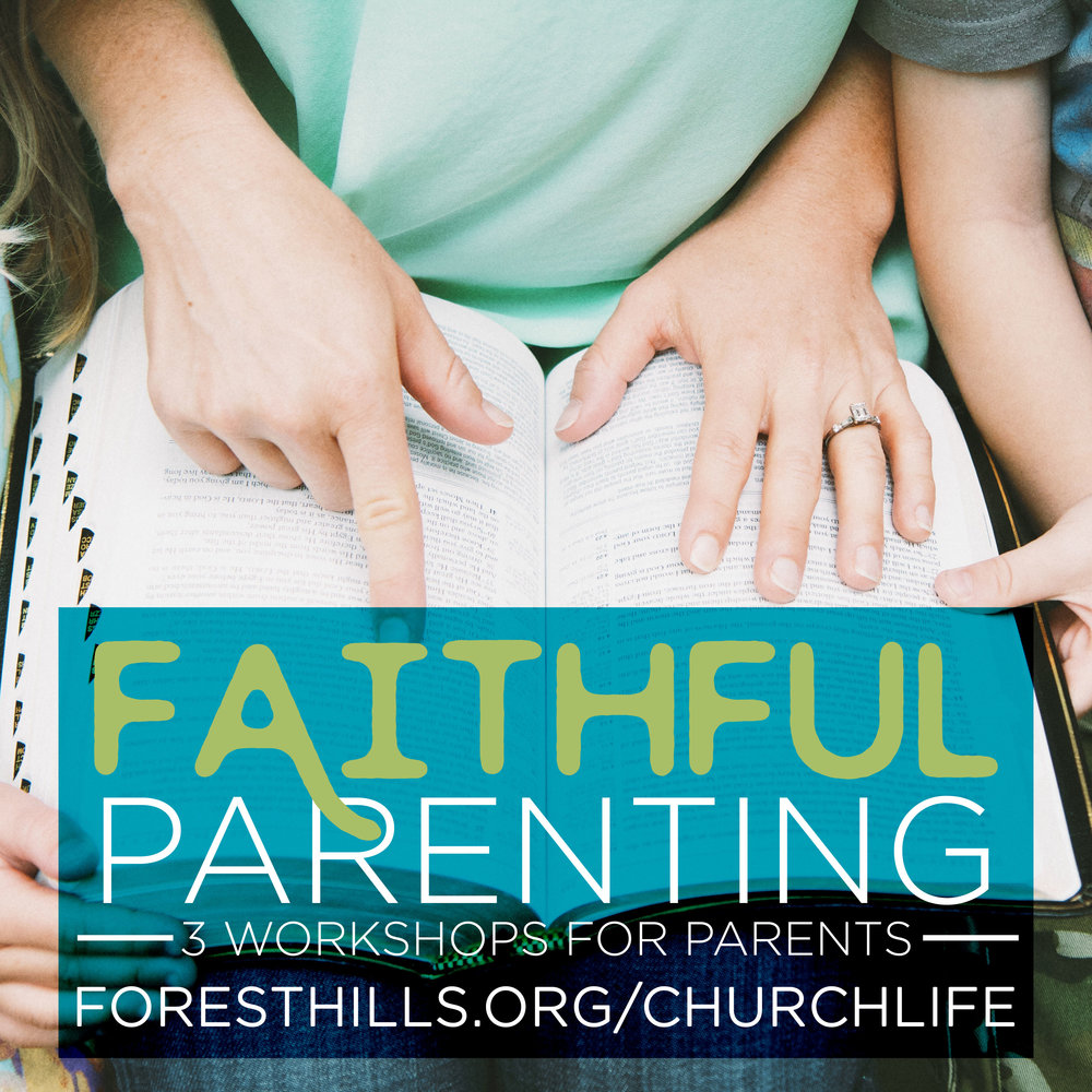 At Faithful Parenting, we'll give you extra tools to support your child as they grow in faith. We will have 3 workshops on 6/24, 7/22, and 8/19 for parents will meet from 4:00-5:30 in the youth attic; activities will be provided for children under 5th grade while parents are in the workshop, and dinner for everyone will be served at 5:30 pm. See the list of workshops and sign up at  foresthills.org/churchlife.   Workshop 2- Helping Children Develop Spiritual Disciplines, Andrew Garnett