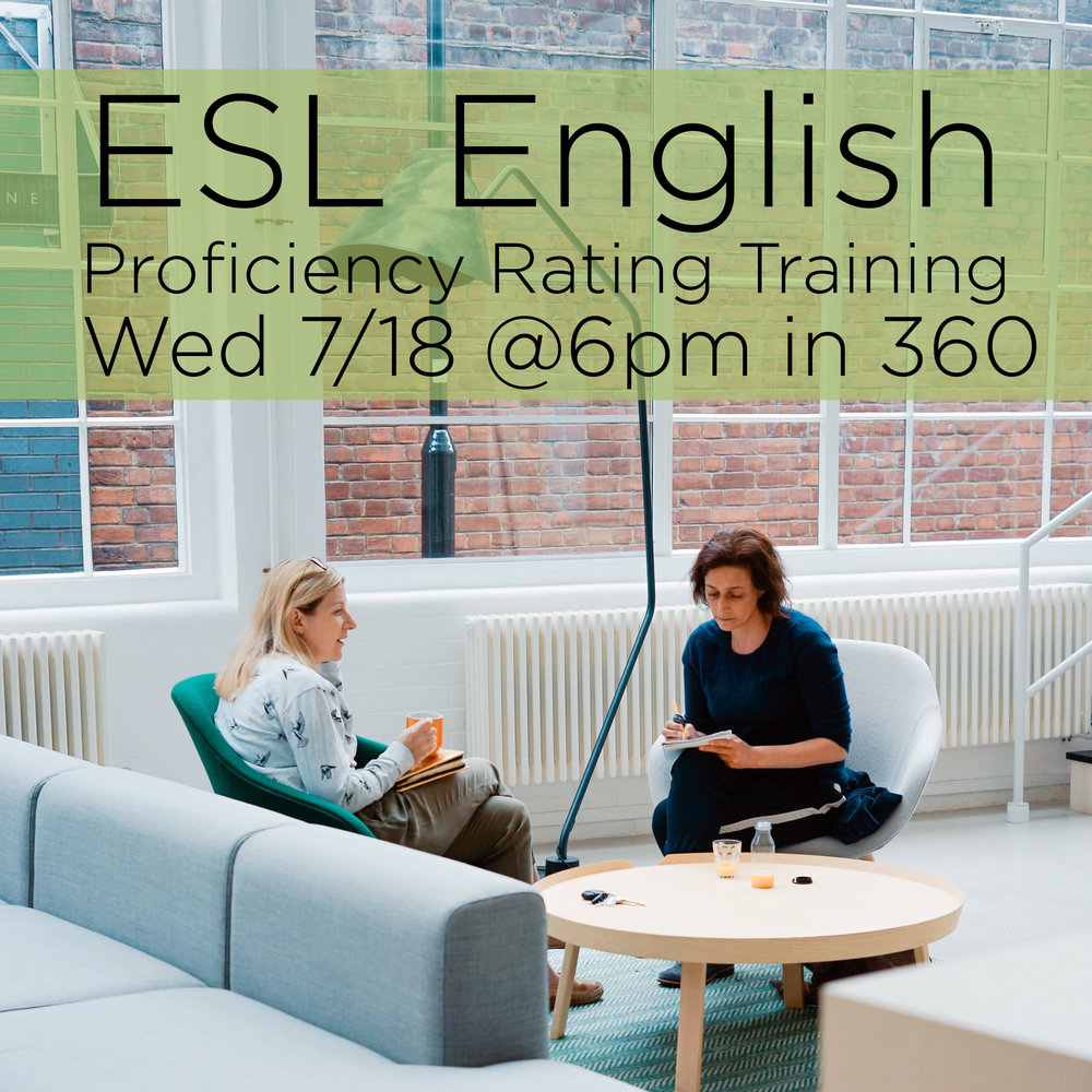 Are you interested in serving in our English as Second Language Program, but don't know where to start? Come learn how to place students in ESL Classes on Wed 7/18 from 6-7:45 pm in E360! Glenda Reece will lead a full training of The Oral Proficiency Rating Interview Procedure. Subway dinner provided- please RSVP to jason@foresthills.org to secure your spot!