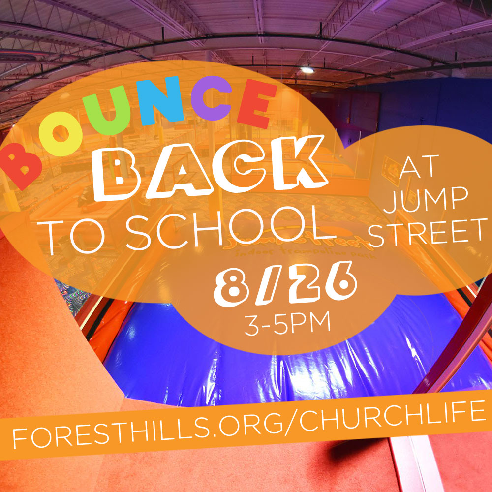 Bounce Back to School- Sad that summer is ending? You should Bounce Back to School! Join the children's ministry from 3:00-5:00 pm on Sun 8/26, at Jumpstreet (1111 Walnut St, Cary) for trampoline fun. Drop in to the Jump Street party room for 3:30-4:30 pm from a piece of cake and a chance to share your prayer requests for the fall. Children of all ages are welcome, including kids who have not yet started school.