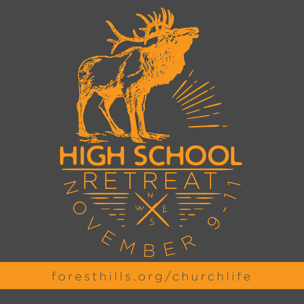 On 11/9-11 our 9th-12th graders are headed to Chestnut Ridge for our High School retreat. We'll be spending time discussing our world, God's image of justice that we are to strive for in bringing the kingdom down to earth. Sign up at foresthills.org/youth to let us know you're coming. Cost is TBA.