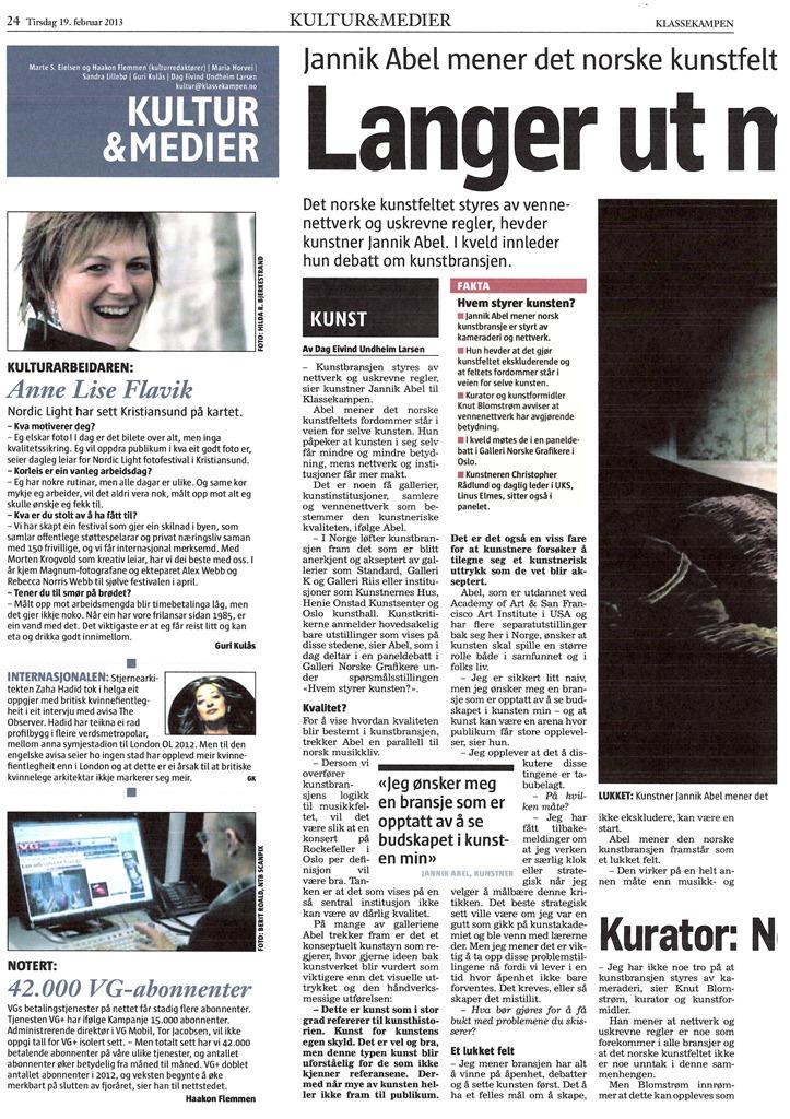 Klassekampen 19.02.13_Kulturarbeideren Anne Lise Flavik - redusert.JPG