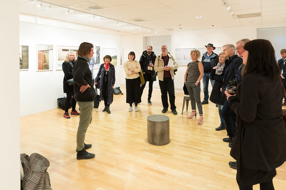 Elina Brotherus in her gallery space during her gallery talk