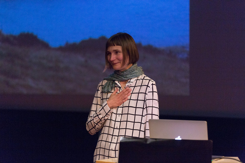 Elina Brotherus at her lecture in Caroline cinema