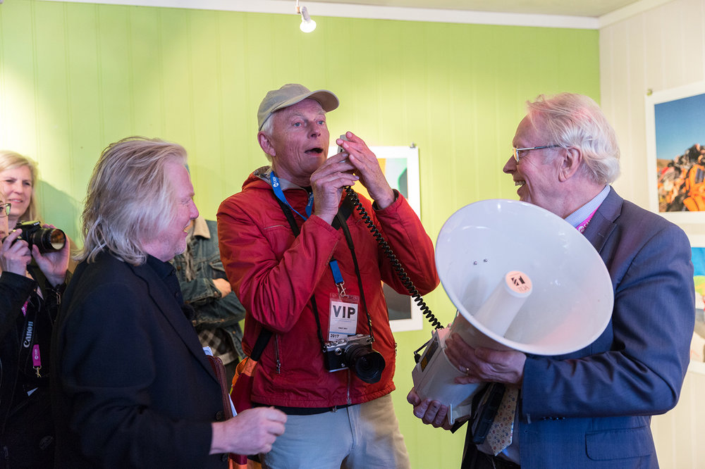Guest photograher Knut Bry in his gallery space, Artistic Director Morten Krogvold and Director of the Board Lar Liabø at the festival opening