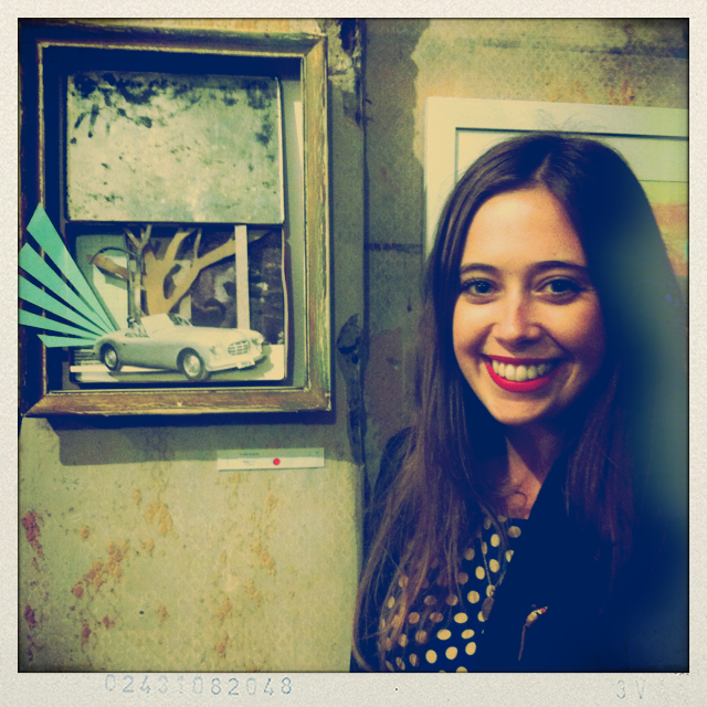 Flora with her piece at the 'Pain at the Dentist' exhibition @ Alvarado Gallery, May 2012