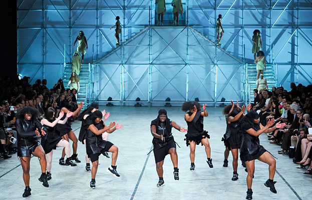 Rick Owens models dance their way down the runway