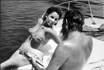 On set of Cleopatra with Richard Burton