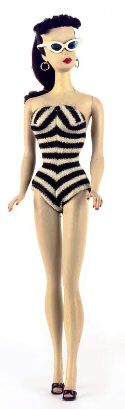 The second Barbie to be released wore a Zebra printed bathing suit.  1959