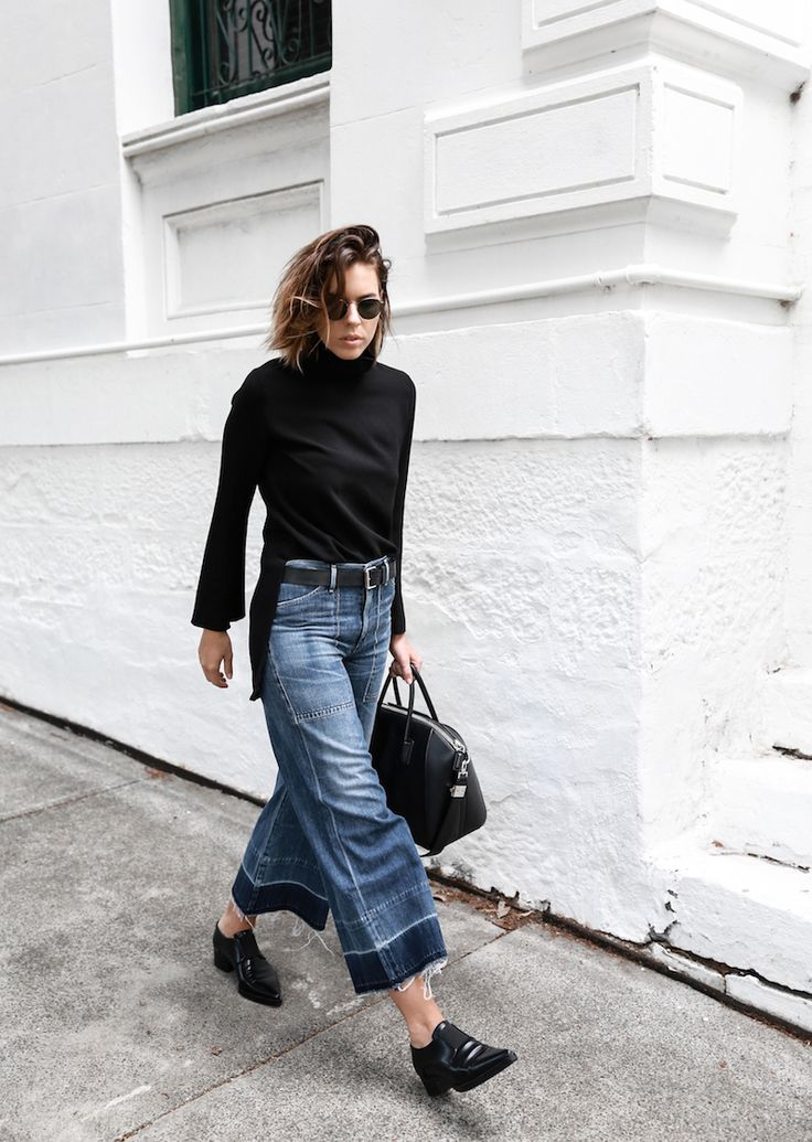 cropped coulotte denim