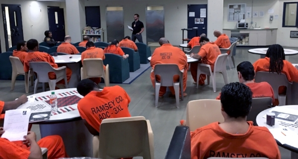 Chaplain Tim Larson conduction an Anger Management session at Ramsey County Jail.